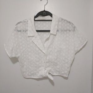 UO cropped white top